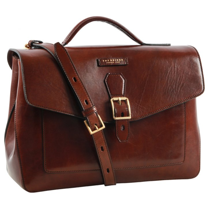 the bridge Laptoptasche braun Rindleder