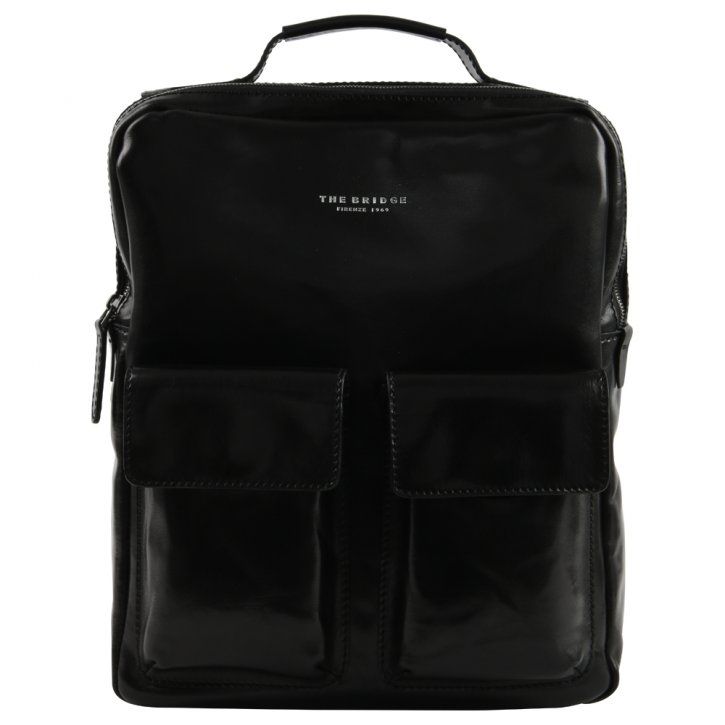 Business-Rucksack Laptop Rindleder schwarz