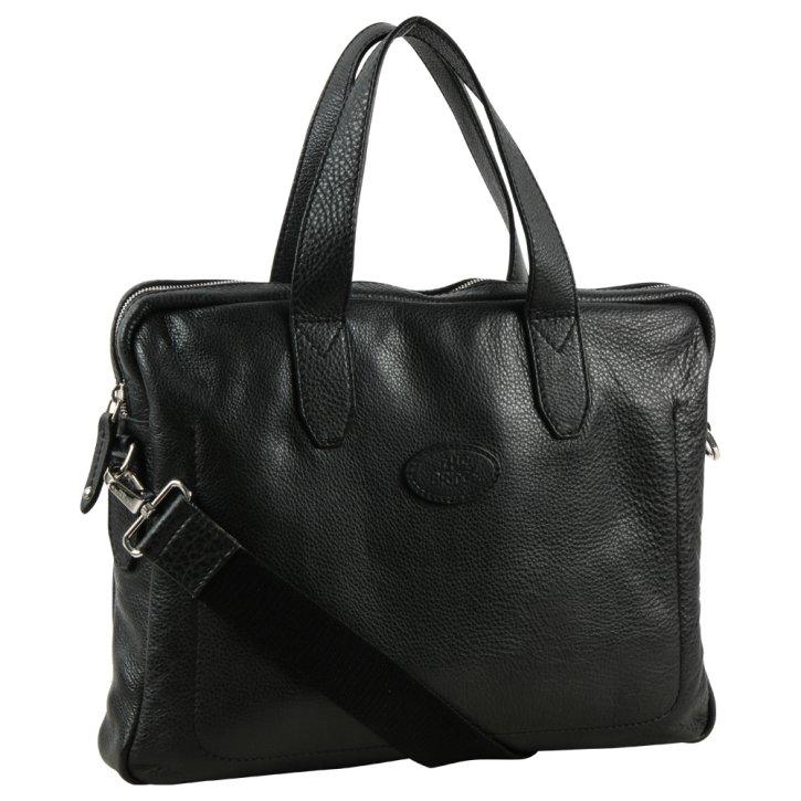 Laptoptasche / Messenger Bag Rindleder Saffian schwarz