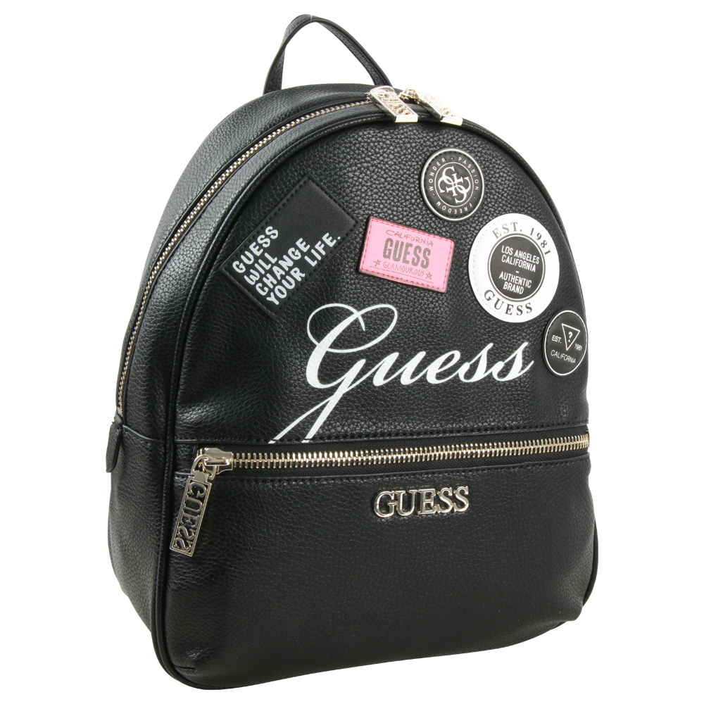 Guess Black Backpack Ronnie with Patches