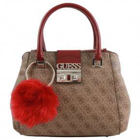 Guess LOGO LUXE Henkeltasche brown small societ