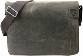 Große Messenger Bag mit Laptopfach dark brown