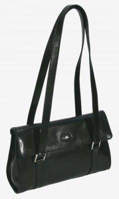 Handtasche Rindleder 2 Griffe schwarz