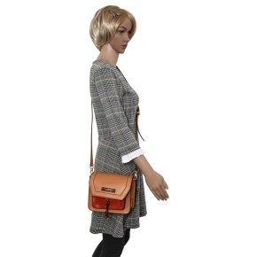 Damentasche beige/rot Rindleder